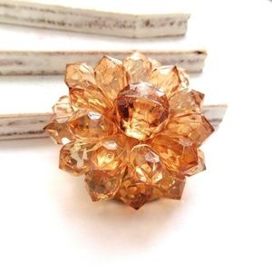 Jewelry - Vintage Topaz Brown Faux Crystal Bead Flower Pin